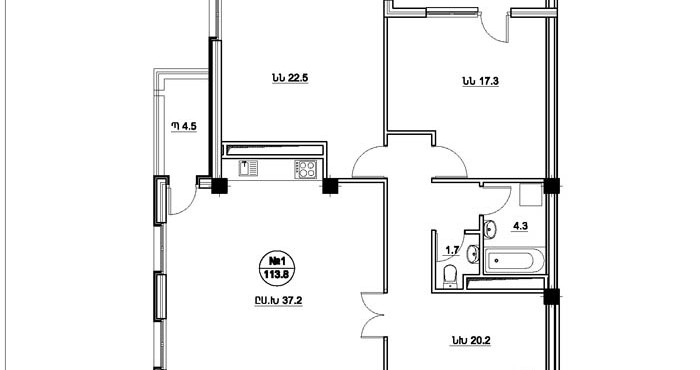 Համաբուհական շենքի բնակարանների հատակագծերը